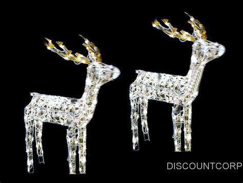 set of 2 48 quot animated lighted glistening deer outdoor