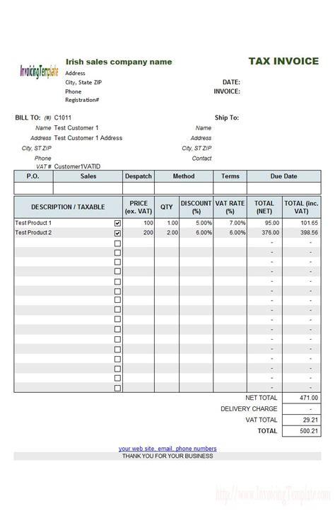 irish sales vat invoice template skthk invoice template