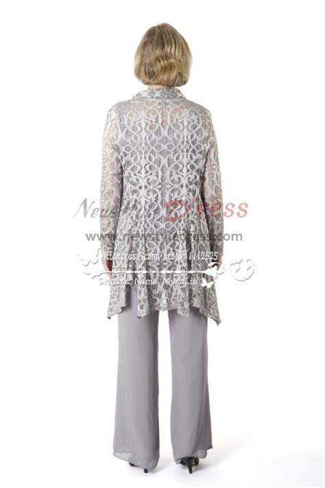 silver grey stretch lace outfit mother   bride pant
