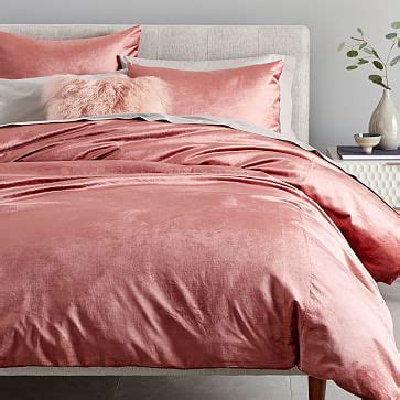 washed cotton luster velvet duvet cover shams west elm