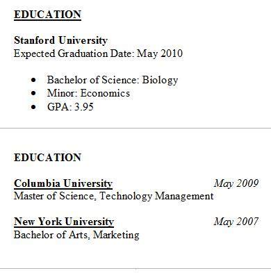 resume education tips sles