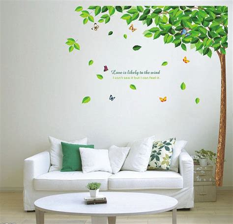 home decor wall murals diy green tree and butterfly removable vinyl wall decal sticker mural home decor room