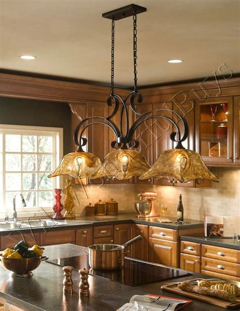 3 Light Chandelier Kitchen Island Pendant Iron Glass