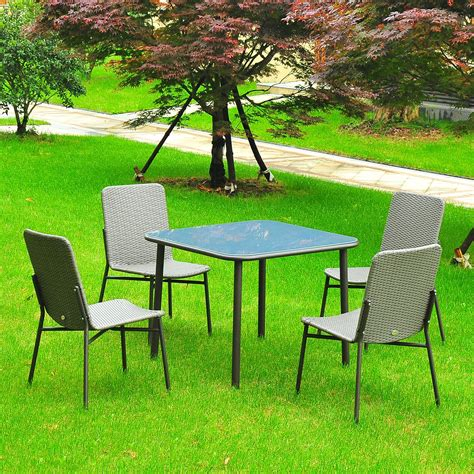 Metal Patio Furniture Clearance by Outsunny 5 Metal Rattan Wicker Outdoor Furniture Set