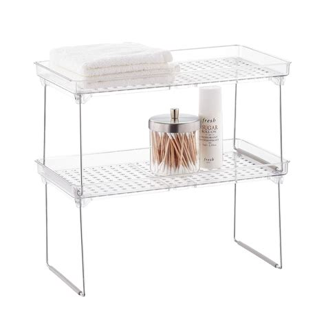 Stacking Shelf by Madesmart Stackable Cabinet Shelves The Container Store