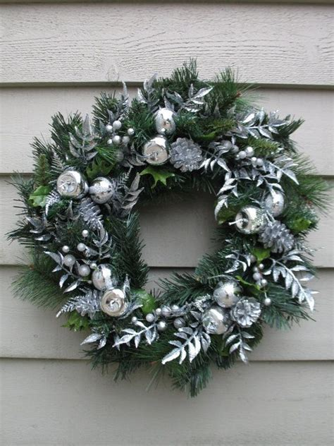 silver christmas wreath holiday wreath silver wreath