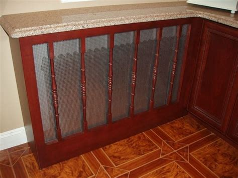 hand crafted kitchen cabinet install  custom radiator