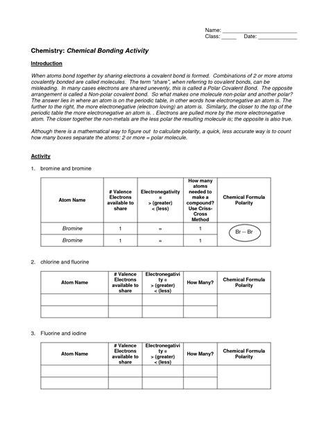 chemical bonds worksheet answers newatvsinfo