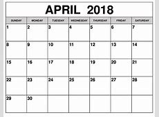 April Calendar 2018 Dr Odd