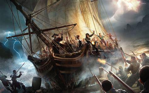 pirate ship battle wallpaper   wallpaper p hd