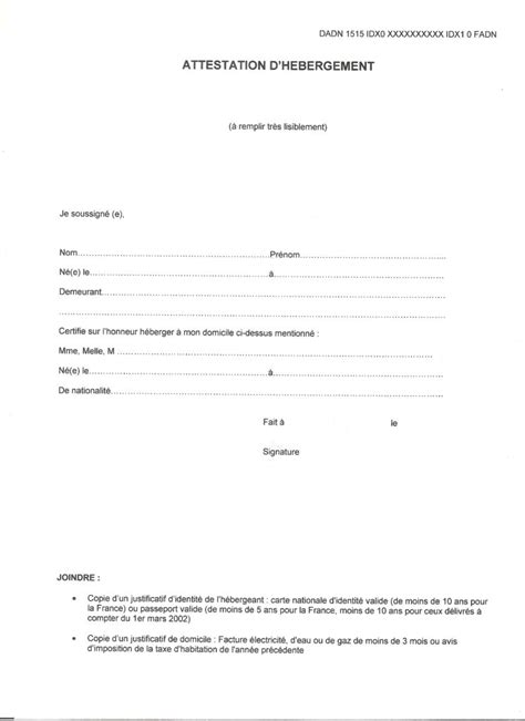 attestation permis de conduire modele attestation hebergement pour permis de conduire gratuit