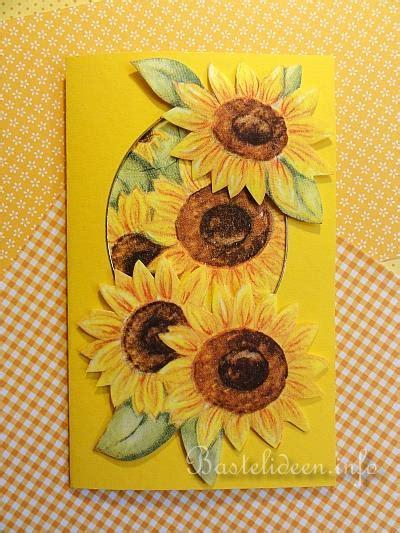grusskarten basteln herbst sonnenblumen