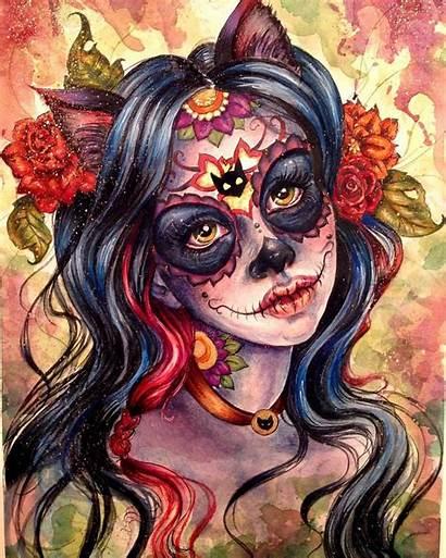 Skull Sugar Dead Drawing Skulls Cat Princess