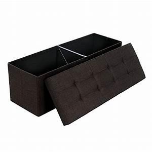 Repose Pied Coffre : songmics 120 l grand pouf coffre de rangement sofa repose pied pliable pour 3 personnes tissu en ~ Teatrodelosmanantiales.com Idées de Décoration