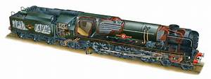 Merchant Navy Class Locomotive Cutaway By Mark Franklin