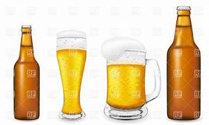 Beer in glass and brown bottle Royalty Free Vector Clip ...