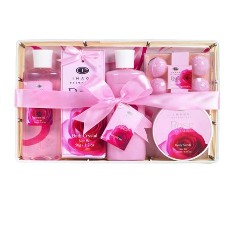 image essentials bath body gift basket set rose petal