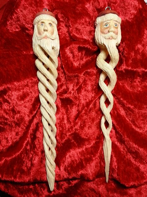 hand carved spiral santa ornaments wood carving patterns