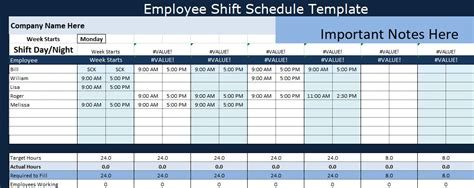 Employee Shift Schedule Template Projectemplates