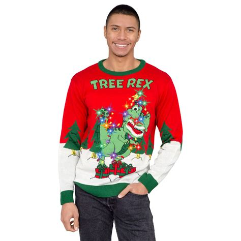 light up ugly christmas sweater the tree isnt the only thing getting lit tree rex light up t rex sweater