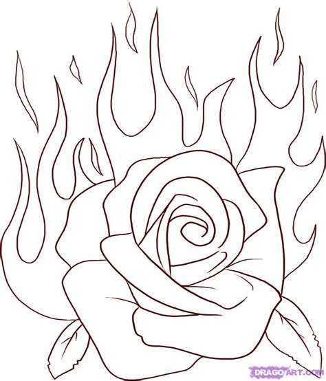 draw  flaming rose step  step tattoos pop