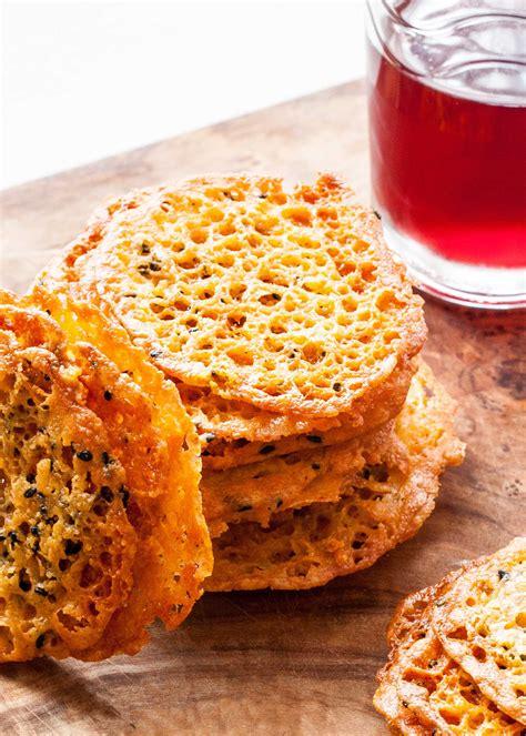cuisine appetizer golden cheddar cheese crisps recipe simplyrecipes com