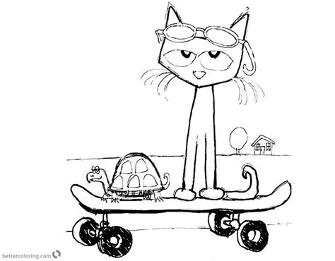 pete  cat coloring pages fanart play skateboard