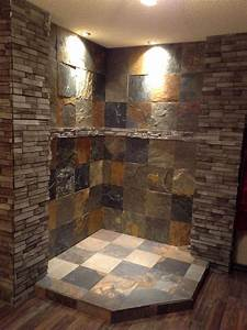 How To Light An Electric Stove Corner Fireplace We Finished In Slate And Ledger Stone