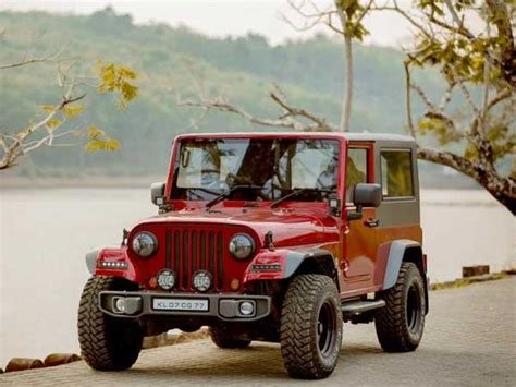 indian jeep modified mahindra thar disguised as a jeep wrangler drivespark news