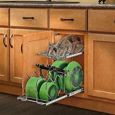 rev  shelf  tier cookware organizer bed bath