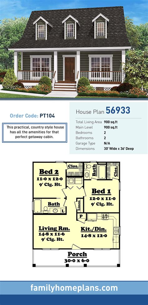 Southern Style House Plan 56933 with 2 Bed 2 Bath