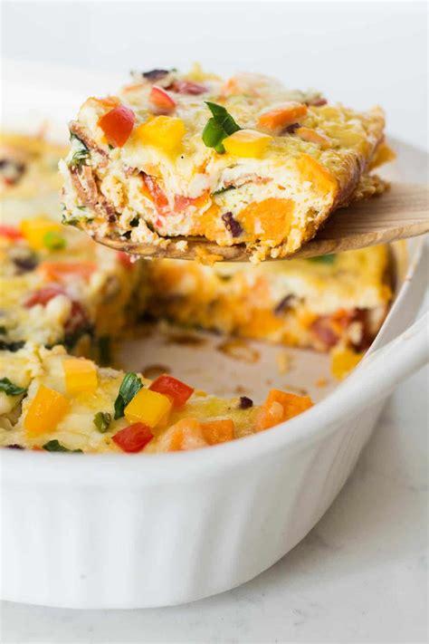 breakfast casserole with sweet potato breakfast casserole video overnight option 183 leelalicious