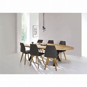 Table de salle a manger cross ovale deco en ligne for Table salle a manger ovale
