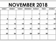 November 2018 Calendar Printable Word Printable Office