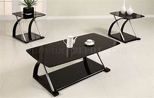 Black glass modern 3pc coffee table set w metal frame for Glass and metal coffee table sets