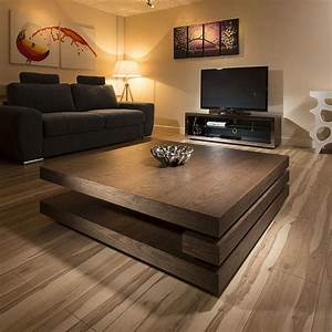 extra large modern square dark elm brown wood 12mt coffee With extra tall coffee table