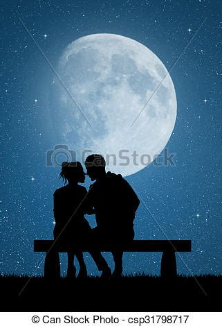 illustration  couple kissing  bench   moonlight