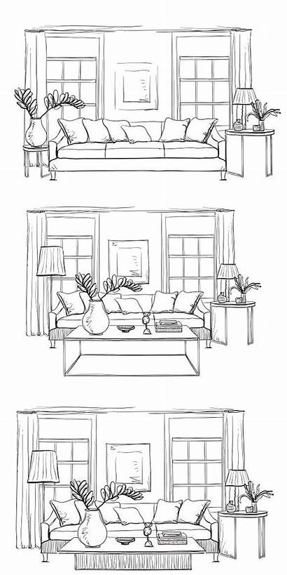 Drawing Interior Hand Drawn Sketches Perspective Furniture