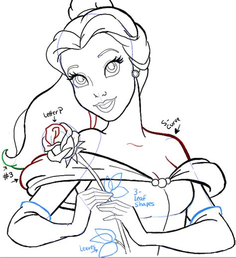 draw belle  beauty   beast step  step