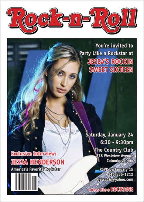 rock  roll magazine cover   invitation