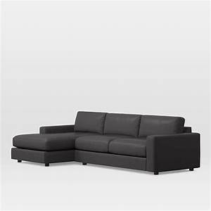urban leather 2 piece chaise sectional west elm With alessia leather sectional sofa 2 piece chaise