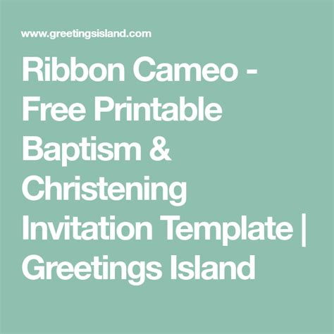 Ribbon Cameo Baptism & Christening Invitation Template