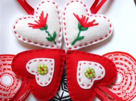4 Felt Christmas Hearts Decorations ♥♥♥♥ Decorating Fireplace Ideas Media Console Costco Mantels With Candles Natural Stone Ornament Stacked Bobs Furniture Screen Glass Doors