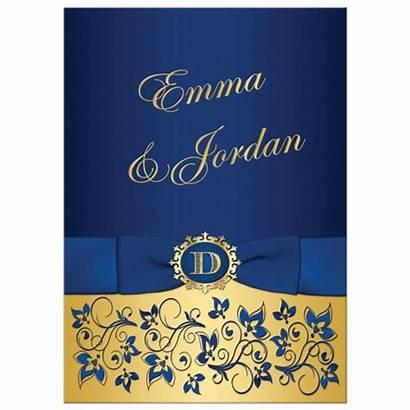 Invitation Floral Purple Royal Gold Monogram Ribbon