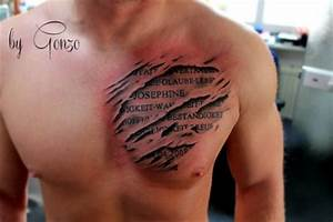 Ripped Skin 3D Tattoo On Man Chest | INKED | Pinterest ...