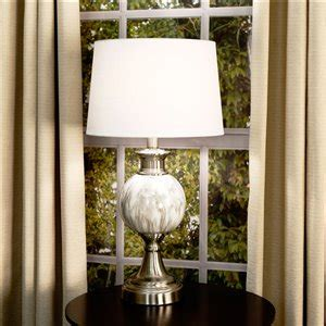 allen roth      white linen fabric drum lamp