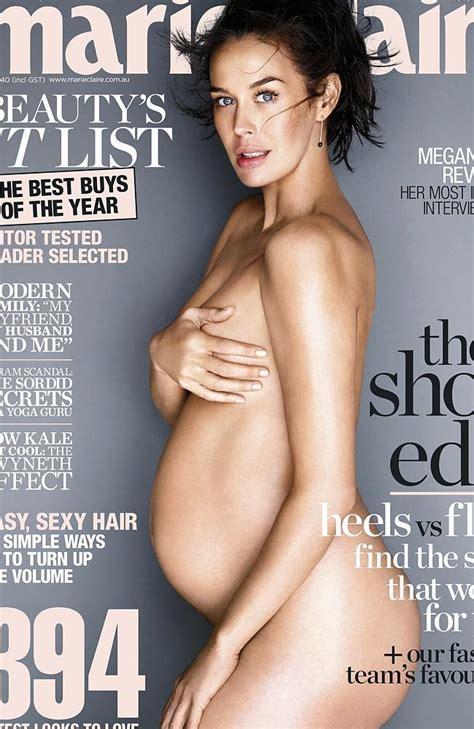 Pregnant Megan Gale Poses Nude In Revealing Cover Shoot For Marie Claire