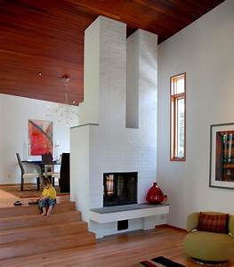 white brick fireplace Family Room Modern with Fireplace ...
