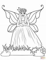 Coloring Fairy Dress Gown Ball Pages Printable Drawing Supercoloring Games sketch template