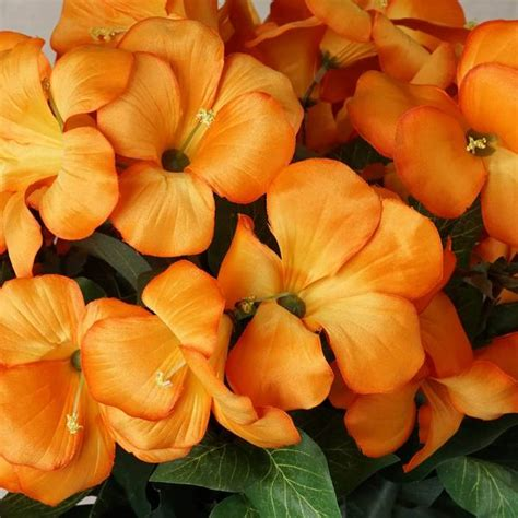 4 Bush 72 Pcs Orange Artificial Silk Primrose Flowers